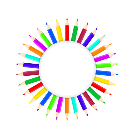 Set of bright color pencils on white, stock vector illustration