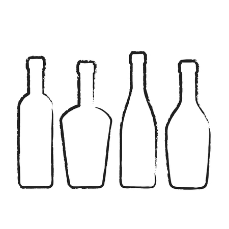 Set of wine bottles silhouette for design on white, stock vector illustration