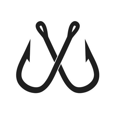 Deux crochets de pêche croisés sur blanc, illustration vectorielle stock