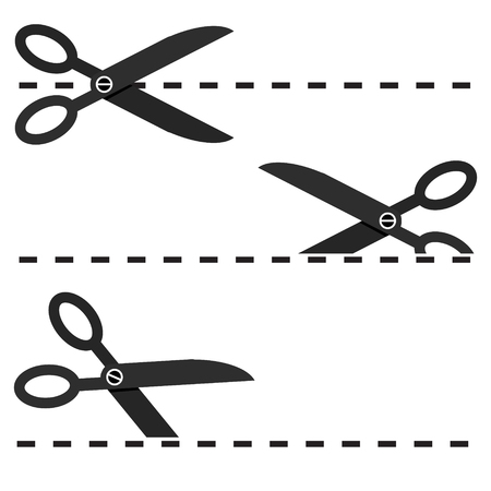 Set of Black Scissors with Cut Lines Vector Isolated