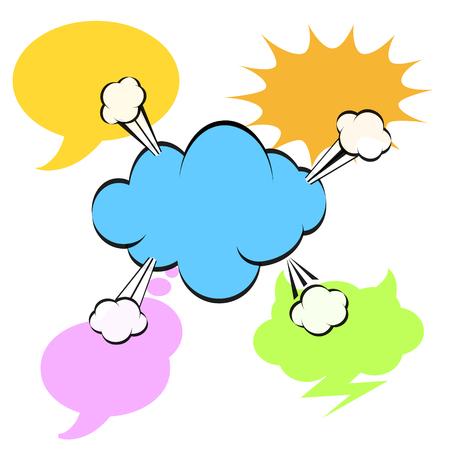 Colorful speech bubble on white background, stock vector illustration Illustration