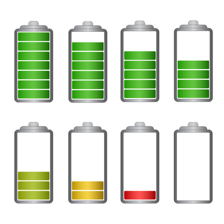 Set of battery symbol with different charge vector illustration