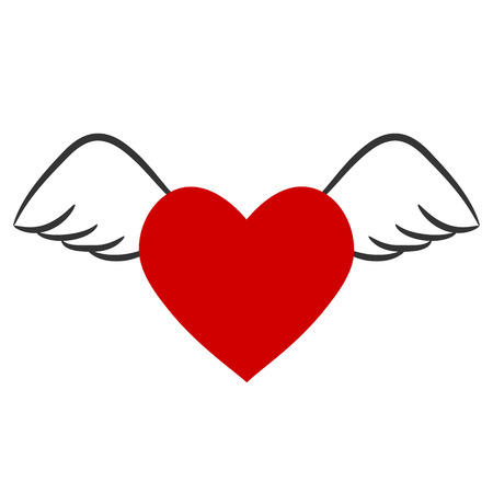 red heart with wings for Valentine`s Day, stock vector illustration Ilustração