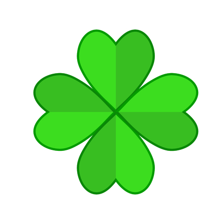 Four leaf green clover hand draw. Lucky quatrefoil. Good luck symbol. Decoration for greeting cards, patches, prints for clothes, emblems Illustration