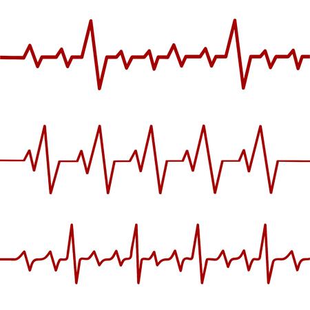 Red heartbeat line, ekg, cardio line,stock vector illustration