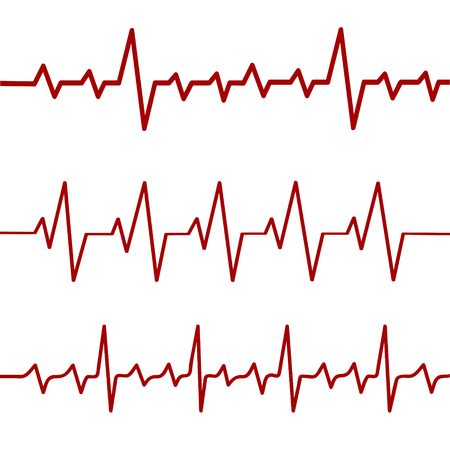 Red heartbeat line, ekg, cardio line,stock vector illustration