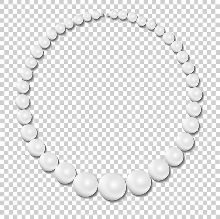 Pearl necklace on transparent background, stock illustration vector