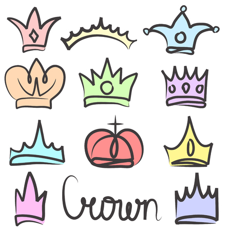 Hand drawn color crowns logo and icon  design set collection Illustration