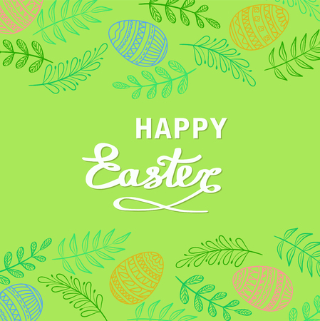Happy Easter greeting card with floral elements, branches and drawing eggs on green grass background, stock vector illustration