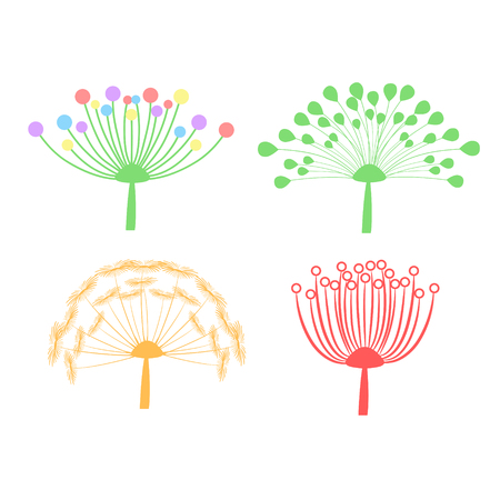 set of colorful dandelion fluff isolated on white, stock vector illustration