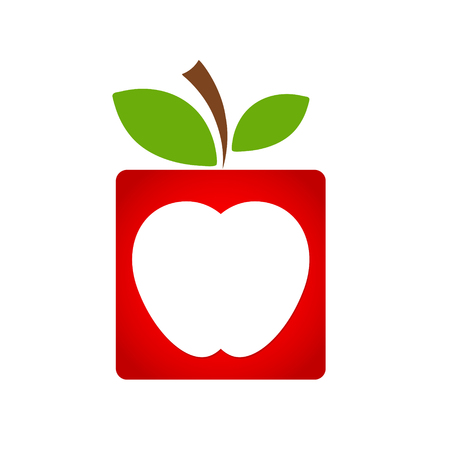 red square apple fruit icon with green leaf, business concept, stock vector illustration