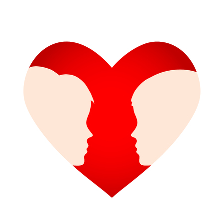 Red heart with silhouette of man and woman head, love concept, stock vector illustration