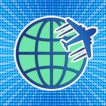 travel logo icon with globe and plane on retro comic pop art stripped and dot background