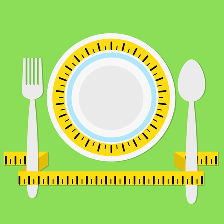 plate with measuring tape, fork and spoon on green background with shadow, keep a diet concept, healhty eat, stock vector illustration