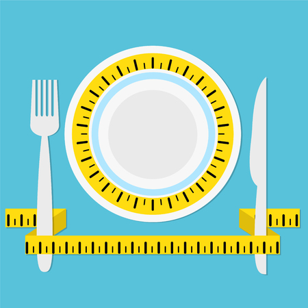 plate with measuring tape, fork and knife on blue background with shadow, keep a diet concept, healhty eat, stock vector illustration