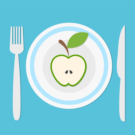plate with green apple fruit half, fork and knife on blue background with shadow, keep a diet concept, healhty eat, stock vector illustration