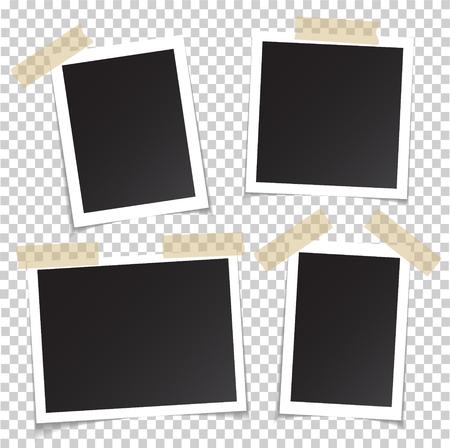Marcos de fotos con pin de sombra en cinta adhesiva. Instantánea de foto en blanco y negro cuadrado vacío realista aislada sobre fondo transparente. Marco de vector de imagen para su diseño