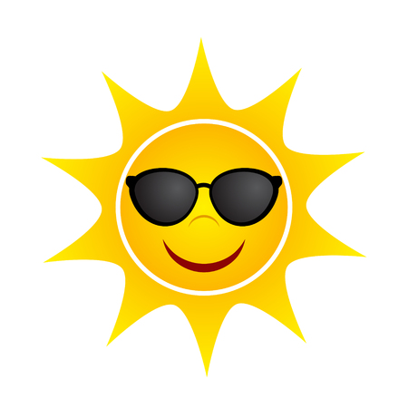 Yellow Summer Sun with Sunglasses, stock vector illustration