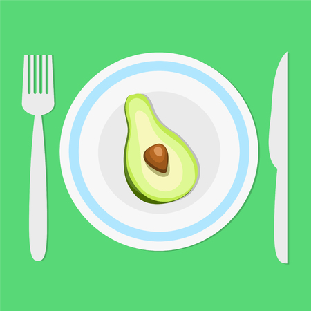 plate with avocado half, fork and knife on green background with shadow, keep a diet concept, healhty eat, stock vector illustration Illustration