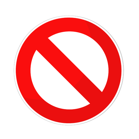prohibited sign flat design on white, stock vector illustration