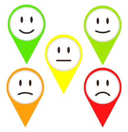 5 Color Faces Feedback / Mood, stock vector illustration