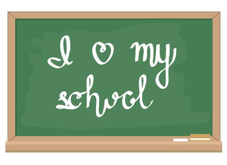 I love my school hand writting lettering on green chalkboard, stock vector illustration