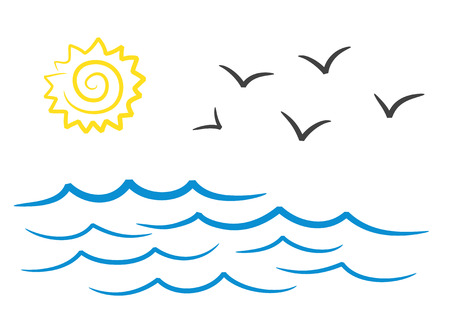 Sea landscape with sun and seagulls hand drawing design, stock vector illustration Ilustracja