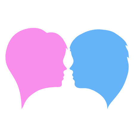 têtes de silhouettes homme et femme sur blanc, illustration vectorielle stock