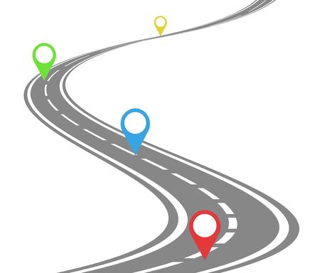 Zeitlinienkonzept für kurvenreiche Straßen Vektorgrafik