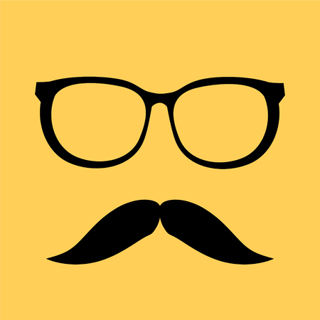 Man mustache and glasses icon on yellow background, stock vector illustration