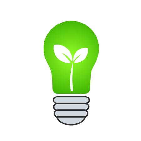 Lightbulb with leaves as green energy concept Çizim