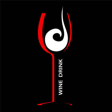 Wine glass icon flat design red and white on black, stock vector illustration