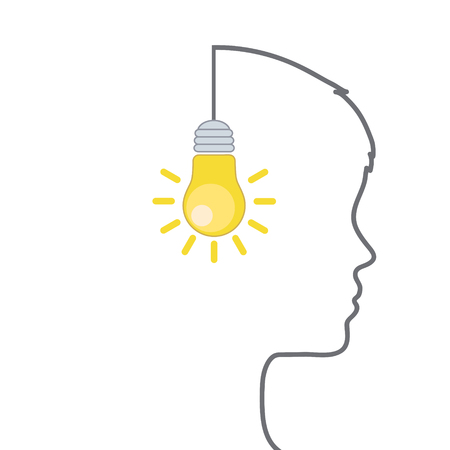 Light bulb with smiley face and profile outline made of wire as positive thinking, happy attitude and good idea concept Çizim