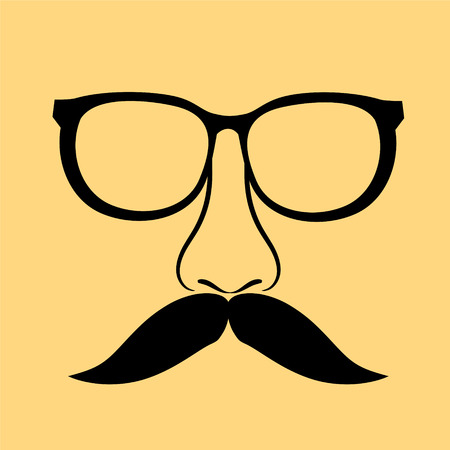 Man mustache, nose and glasses icon on yellow background, stock vector illustration