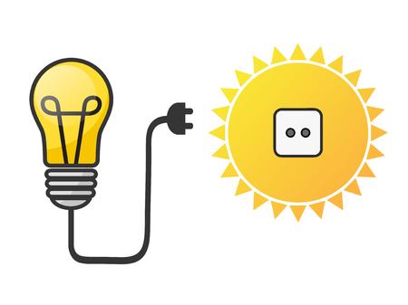 solar energy concept with lightbulb and sun, stock vector illustration Archivio Fotografico - 119260209
