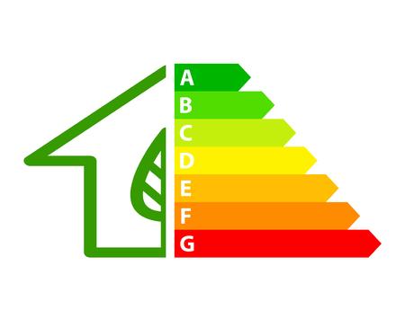 Energieeffizienzpfeile und Haussymbol-Ökologiekonzept, Vektorillustration auf Lager
