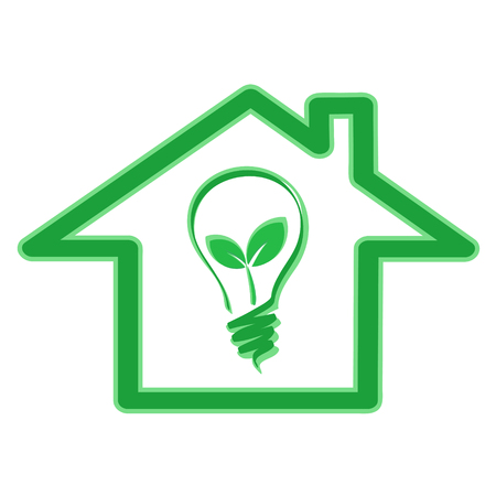 Green eco energy efficiency concept with house icon and light bulb with plant leaves, stock vector illustration