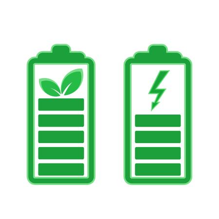 Conjunto de iconos de batería de energía verde, ilustración vectorial de stock