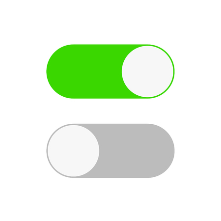 On and Off switch toggle. Simple flat icon design, stock vector illustration