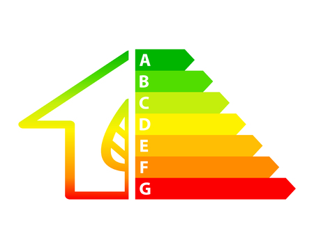 energy efficiency arrows and house icon ecology concept, stock vector illustration Çizim