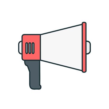 Loudspeaker megaphone on white flat vector icon illustration Çizim