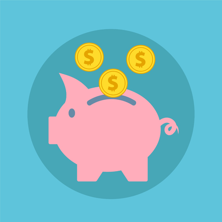 Pink piggy bank with falling golden coins, flat icon vector illustration