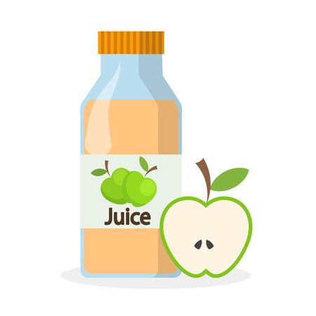 Bottle of apple juice and half of green apple, stock vector illustration