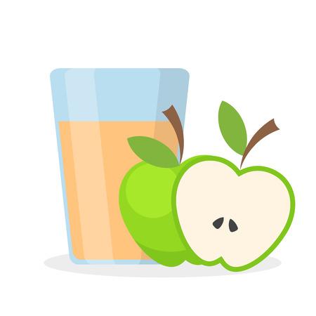 Glass of apple juice and half of green apple, stock vector illustration Çizim