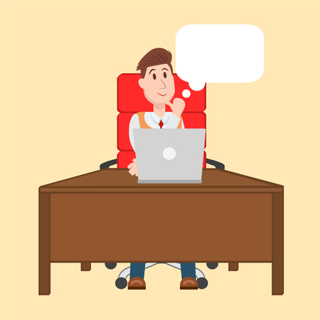 Vector illustration of man working on the computer, sitting at the table on red chair and thinking