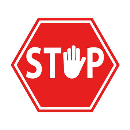 hand blocking sign stop red on white, stock vector illustration