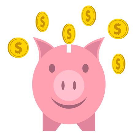 Pink piggy bank with falling golden coins Çizim