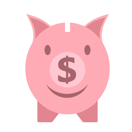 Vector business flat piggy bank icon isolated on white background