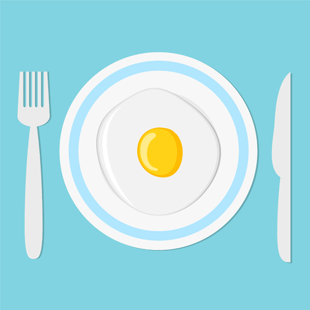fried egg on plate with fork and knife, breakfast concept, stock vector illustration