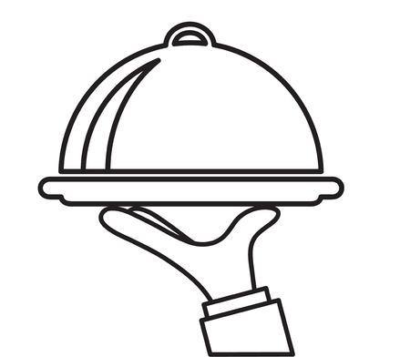 Kellnertablett mit Handrestaurant-Service-Symbol, Vektorillustration auf Lager